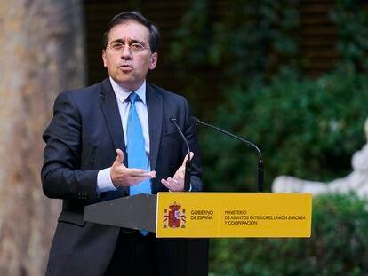 El ministro español de Asuntos Exteriores, Unión Europea y Cooperación, José Manuel Albares, en un acto el pasado martes.