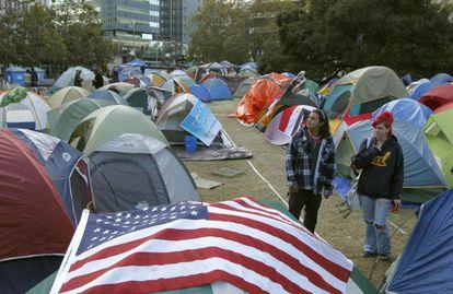 Campamento del movimiento Occupy Oakland, en California.