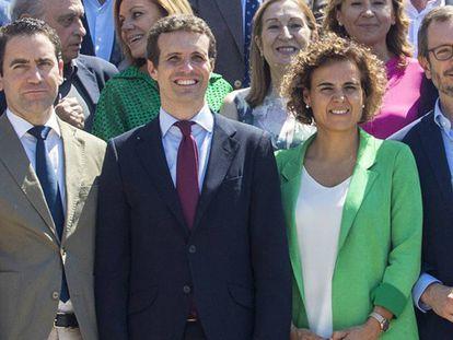 Teodoro García Egea, Pablo Casado, Dolors Monteserrat y Javier Maroto/ En vídeo, Pablo Casado anuncia la nueva cúpula del PP en el Comité Ejecutivo Nacional del partido