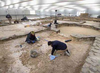 Excavaciones en el yacimiento romano de Arellano (Navarra), donde se han encontrado mosaicos del siglo IV.