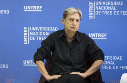 Judith Butler este martes en el campus de la Untref, a las afueras de Buenos Aires.