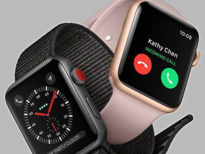 Apple Watch Series 3, con la nueva correa de velcro y en rosa dorado con neopreno a juego.