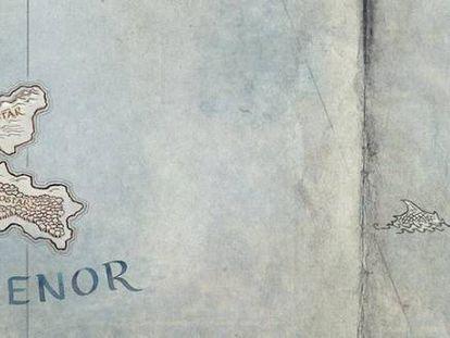 Mapa de la isla de Númernor en la Tierra Media creada por Tolkien.
