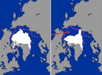 La línea morada que separa las dos imágenes (la de la izquierda de agosto de 2005 y la de la derecha de agosto de 2007) marca la media anual del borde de hielo en el Ártico. El deshielo abrirá nuevas rutas de navegación Europa-Asia sin pasar por el canal de Panamá.