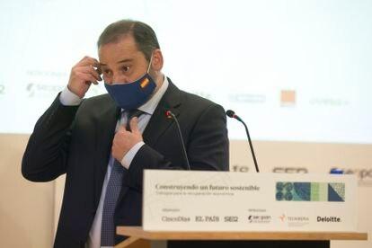 José Luis Ábalos, ministro de Transportes, Movilidad y Agenda Urbana, este jueves en el foro 'Construyendo un futuro sostenible. Diálogos para la recuperación económica'.