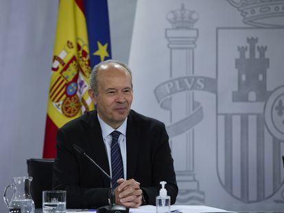 El ministro de Justicia, Juan Carlos Campo, durante una rueda de prensa, este martes 20 en el Palacio de la Moncloa.