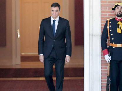 El presidente del Gobierno, Pedro Sanchez, en La Moncloa.