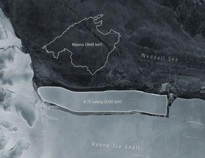 Imagen distribuida por la ESA del iceberg A-76 con el dibujo de la isla de Mallorca como referencia de su extensión.