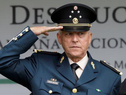 El exsecretario de Defensa de México Salvador Cienfuegos durante un acto castrense en 2016.
