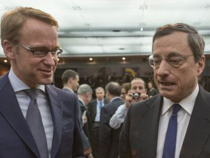 Jens Weidmann (Bundesbank) y Mario Draghi (BCE).