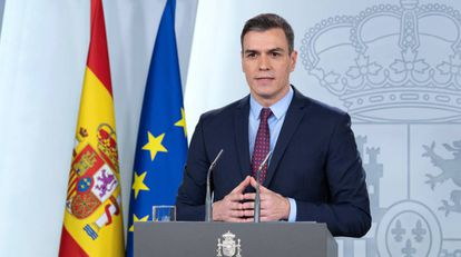 El presidente del Gobierno, PedroSánchez, en su comparecencia en La Moncloa.