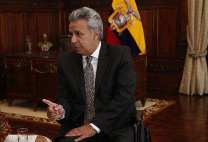 El presidente de Ecuador, Lenín Moreno, durante la entrevista con EL PAÍS en el Palacio de Carondelet.