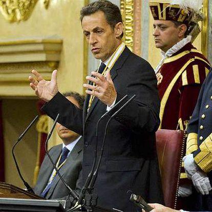 El presidente francés, durante su intervención ante el pleno conjunto de las dos Cámaras