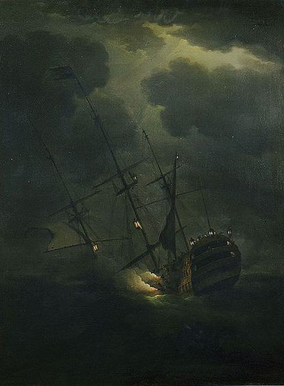 <i>La pérdida del HMS Victory,</i> de Peter Monamy, que se conserva en el National Maritime Museum de Londres.