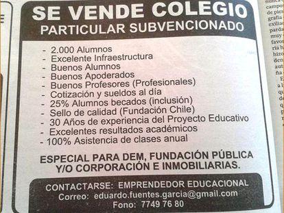 <span >Colegio en venta en Chile, con alumnos, profesores, sello de &quot;calidad&quot; y buenos &quot;apoderados&quot;, eufemismo comercial usado para nombrar a los padres o responsables de los alumnos en el sistema educativo chileno. (Diciembre de 2014)</span>
