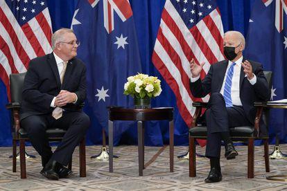 El presidente Biden y el primer ministro australiano, Scott Morriso, este martes en Nueva York.