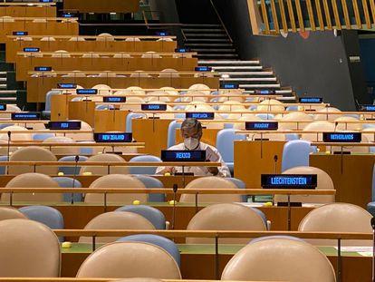 El embajador Juan Ramón de la Fuente, este miércoles en Naciones Unidas.