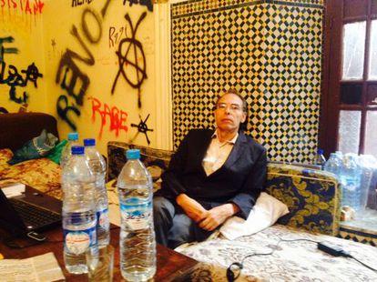 Maati Monyib, durante su huelga de hambre