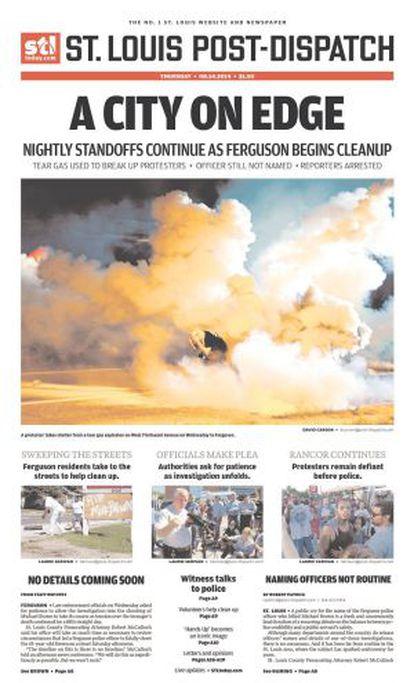 Portada del St. Louis Dispatch, premiado por sus imágenes de Ferguson.
