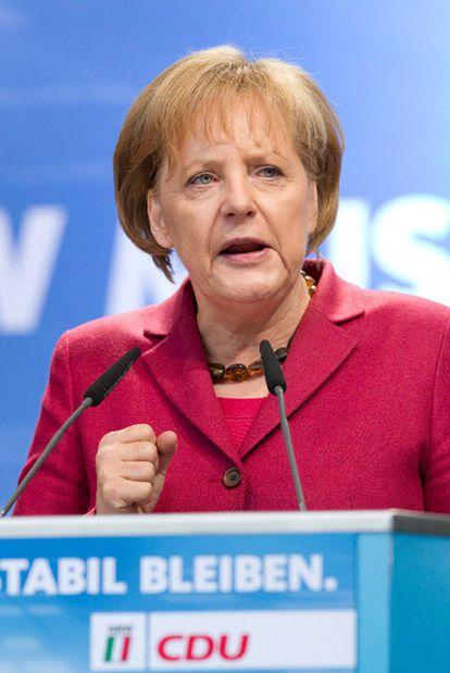 La canciller alemana, Angela Merkel, durante el mitin celebrado en Bielefeld.
