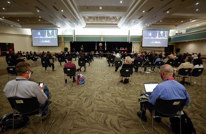 El salón de eventos donde se celebró la vista de DeAngelo.
