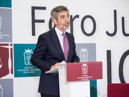 El presidente del Tribunal Supremo y del Consejo General del Poder Judicial, Carlos Lesmes, este miércoles en el Foro de Justicia del Colegio de Abogados de Madrid.