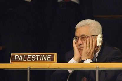 Mahmud Abbas en su asiento de la Asamblea  de la ONU, antes de solicitar que se reconozca a Palestina como Estado miembro.  / EFE