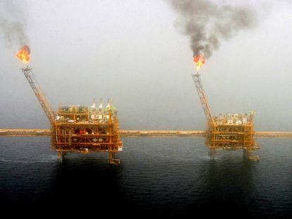 Plataformas petrolíferas en el golfo Pérsico.