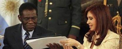 Teodoro Obiang y Cristina Fernández de Kirchner en la Casa Rosada