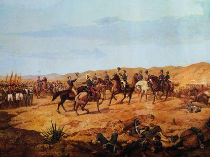 El ejército patriótico se saluda tras la victoria en la batalla de Ayacucho, en una pintura de Martín Tovar y Tovar.
