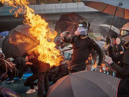 Protestas a finales de septiembre frente al Parlamento de Hong Kong.