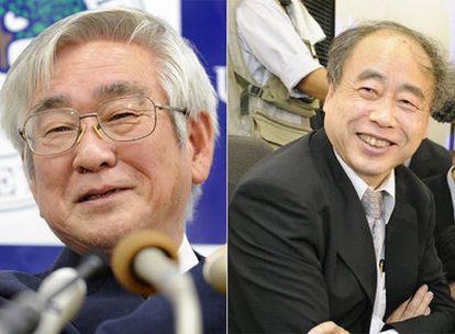 De izquierda a derecha, Toshihide Maskawa y Makoto Kobayashi.