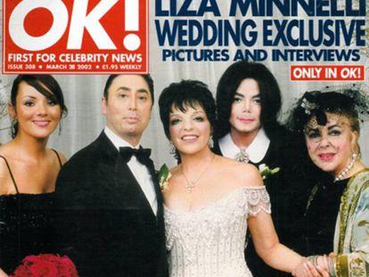 La impactante imagen de la boda vendida en exclusiva al semanario 'OK! Magazine': en ella posan Martine McCutcheon, David Gest, Liza Minnelli, Michael Jackson y Elizabeth Taylor. Solo dos de ellos viven hoy.