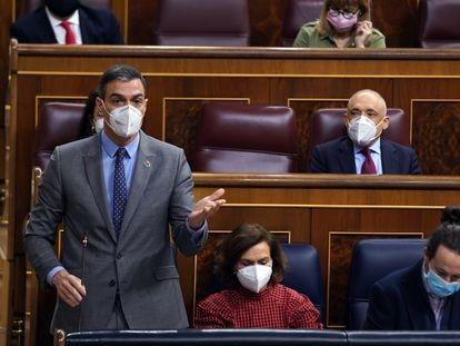 El presidente del Gobierno, Pedro Sánchez, durante la sesión de control al Ejecutivo este miércoles en el Congreso de los Diputados.