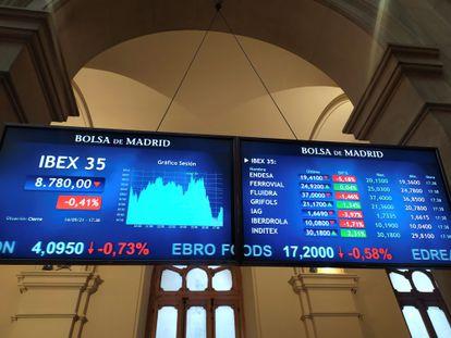 La bolsa española ha perdido el 0,41 % y el nivel de 8.800 puntos este martes.