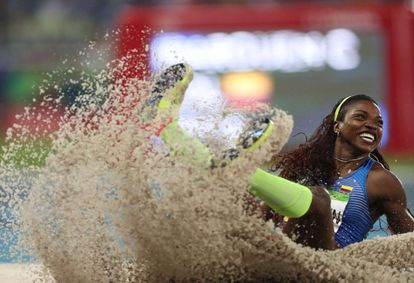 Colombian Caterine Ibargüen, triple jump champion at the Rio de Janeiro Olympics.