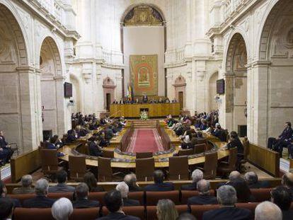 Un momento del pleno del Parlamento de Andalucía celebrado el pasado 28 de febrero.