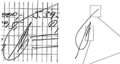 A la izquierda, visé atribuido supuestamente a Álvaro Lapuerta que figura en los papeles de Bárcenas. A la derecha, rúbrica que Lapuerta realizó en sede judicial.