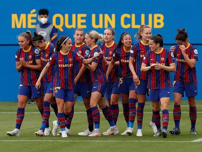Las jugadoras del Barcelona celebraban un gol al PSG en las semifinales de la Champions.