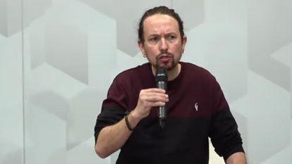 El vicepresidente segundo, Pablo Iglesias, el pasado domingo en un coloquio sobre vivienda.