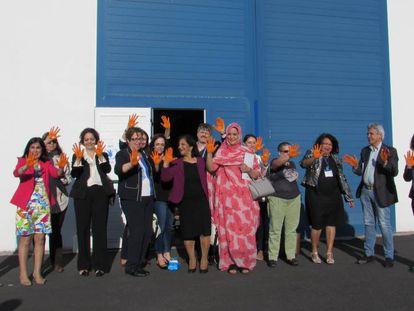 Visita de las parlamentarias al almacén del Programa Mundial de Alimentos en Canarias.