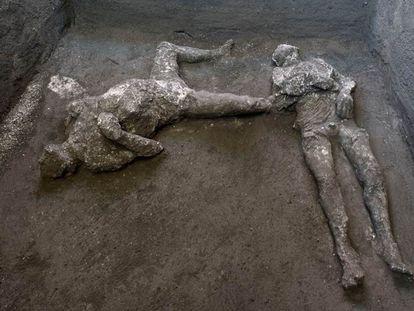 Los dos cuerpos, sorprendidos por la erupción del Vesubio en el año 79, han sido encontrados en un espacio lateral de la villa.