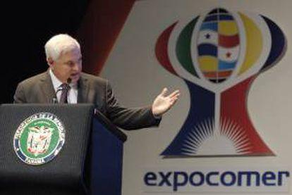 Imagen de archivo del presidente de Panamá, Ricardo Martinelli, durante un acto inaugural de la feria Expocomer, en Ciudad de Panamá (Panamá). EFE/Archivo