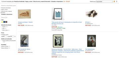 Página de compra de productos 'handmade' en Amazon.es.