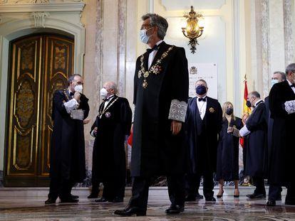 El presidente del Consejo General del Poder Judicial, Carlos Lesmes, en el centro, en la celebración del acto de apertura del Año Judicial, el 12 de septiembre.