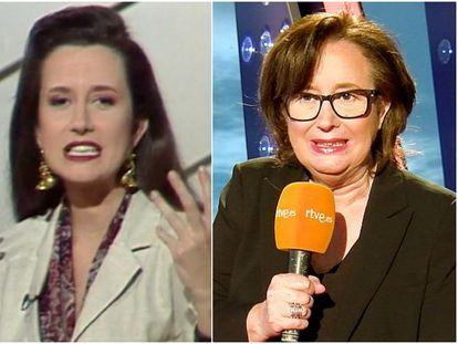 Elisenda Roca, presentando 'Cifras y letras' en La 2 a principios de los noventa, y en la actualidad en 'Saber y ganar', de la misma cadena.