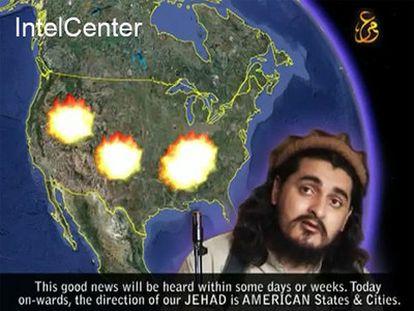 """Imagen de uno de los vídeos en los que aparece Hakimulá Mehsud, difundida por <a href=""""http://www.intelcenter.com/"""" target=""""_blank"""">IntelCenter</a>, una compañía privada que trabaja para muchas agencias de inteligencia."""