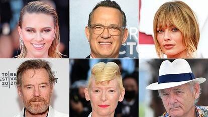 Desde la izquierda y de arriba a abajo, los actores Scarlett Johansson, Tom Hanks, Margot Robbie, Bill Murray, Tilda Swinton y Bryan Cranston, quienes participarán en el rodaje en Chinchón (Madrid) de la próxima película del director estadounidense Wes Anderson.