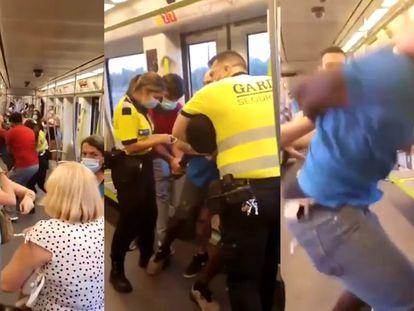 Imágenes de la agresión en el metro de Valencia este sábado.