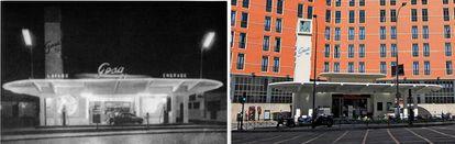 Que las apariencias no te engañen. Si en Casa Catena, el original seguía estando ahí, aquí ves son dos gasolineras distintas: la de la izquierda, la racionalista que diseñó Casto Fernández-Shaw en 1927; a la derecha, una copia que el Ayuntamiento obligó construir a los propietarios de la finca.